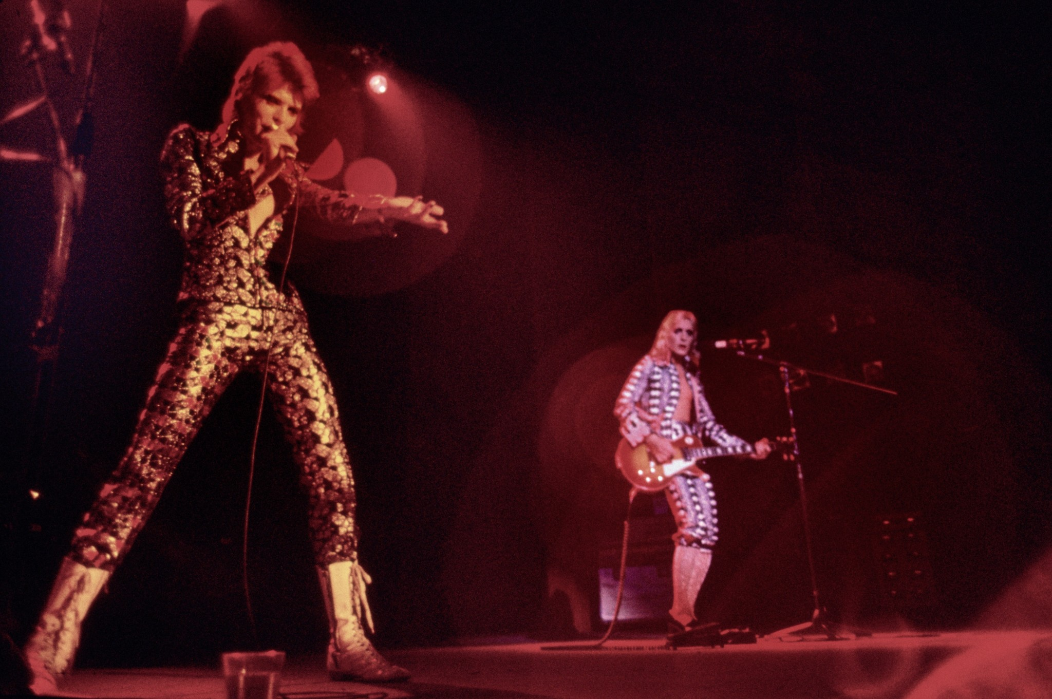 David Bowie as Ziggy on stage in Cleveland in Mick Rock's book