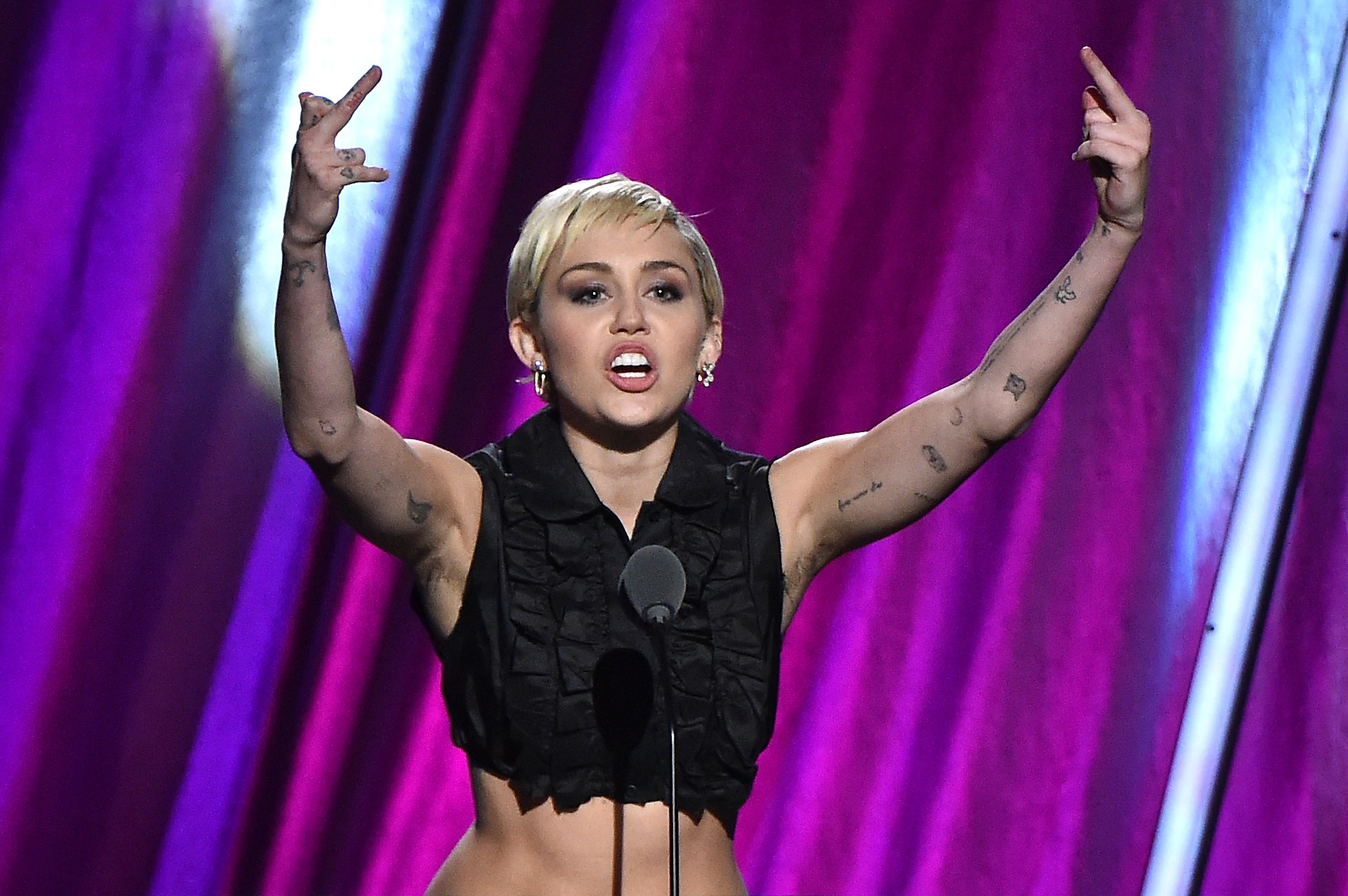 Miley Cyrus at the 30th Annual Rock And Rock Hall Of Fame Induction Ceremony