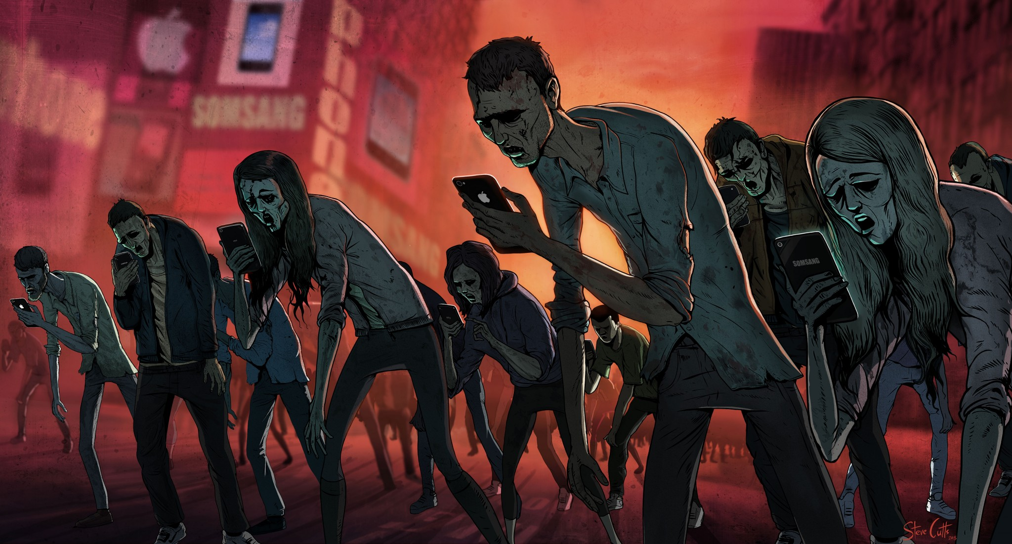 Steve Cutts Loaded illustration The Texting Dead