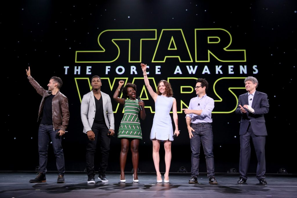 Daisy Ridley with the Star Wars cast at this year's Worlds, Galaxies And Universes Disney's conference