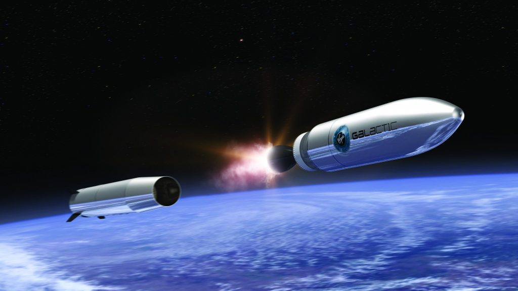 An artist's impression of how Virgin Galactic's spacecraft will rise above earth