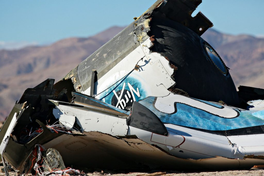 The remains of Virgin Galactic's SpaceShipTwo after it crashed in the Mojave desert