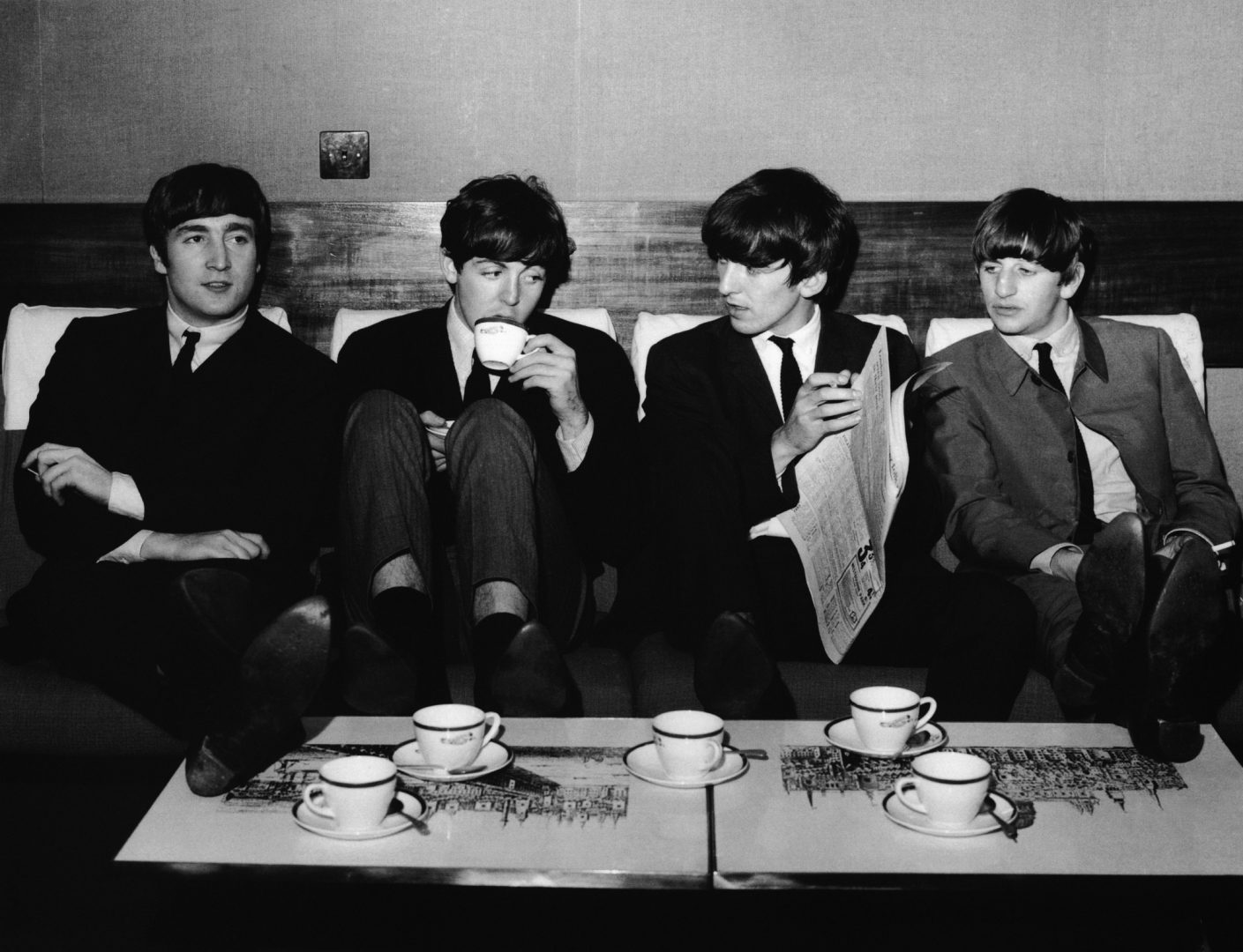 The Beatles have a coffee break