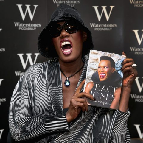 Grace Jones holds her memoirs