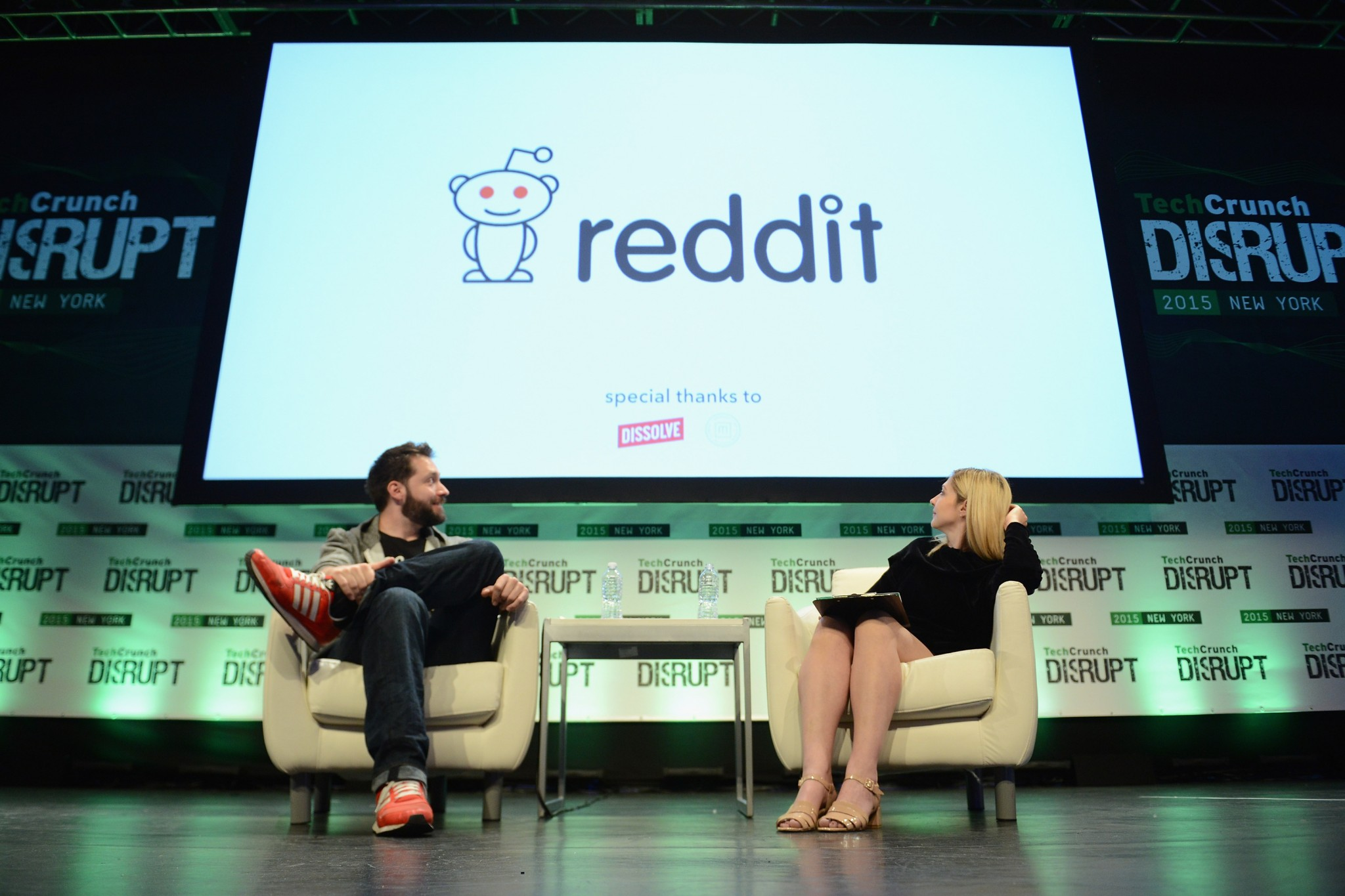 Reddit co-founder Alexis Ohanian on-stage at TechCrunch Disrupt NY 2015.