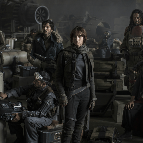 Felicity Jones and the cast of Rogue One: A Star Wars Story