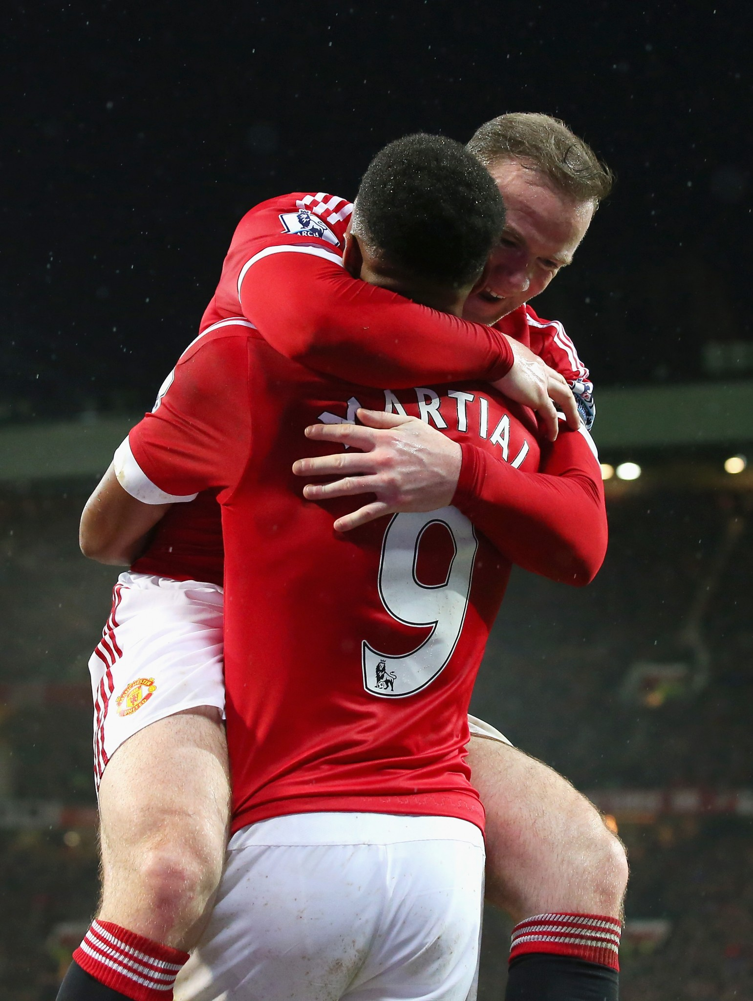 Wayne Rooney and Anthony Martial celebrate a Manchester United goal