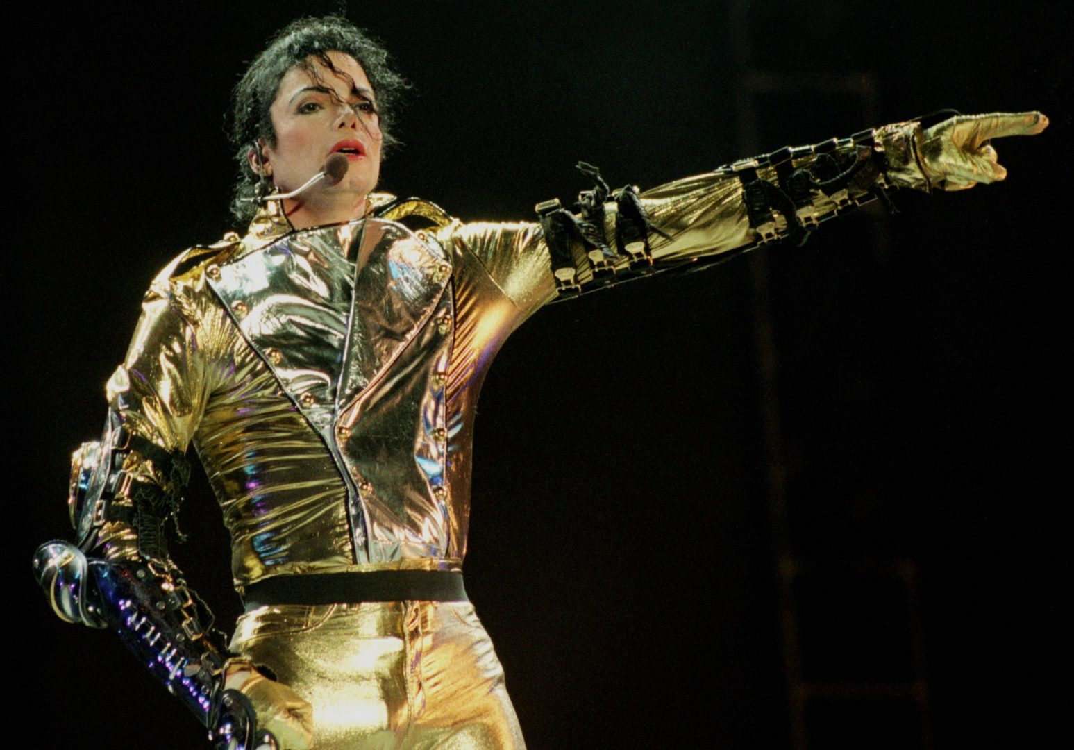 Michael Jackson performs on stage during his HIStory tour