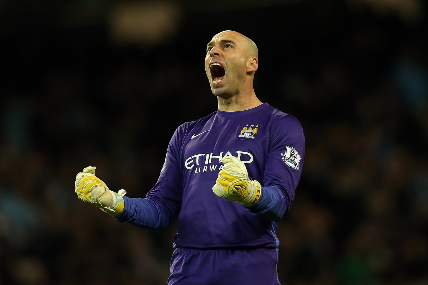 Willy Cabellero celebrating a Manchester City goal.