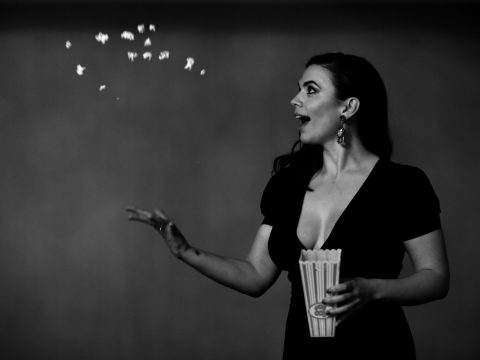 Hayley Atwell throws popcorn
