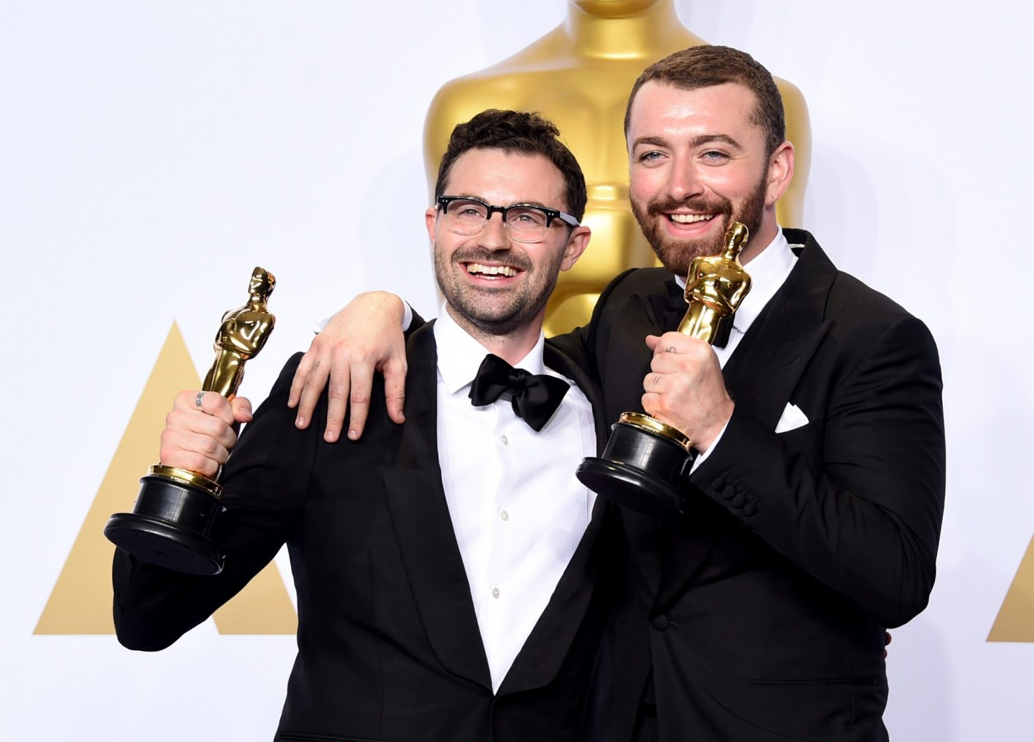 Sam Smith and Jimmy Napes with their Oscar for Writing's On The Wall