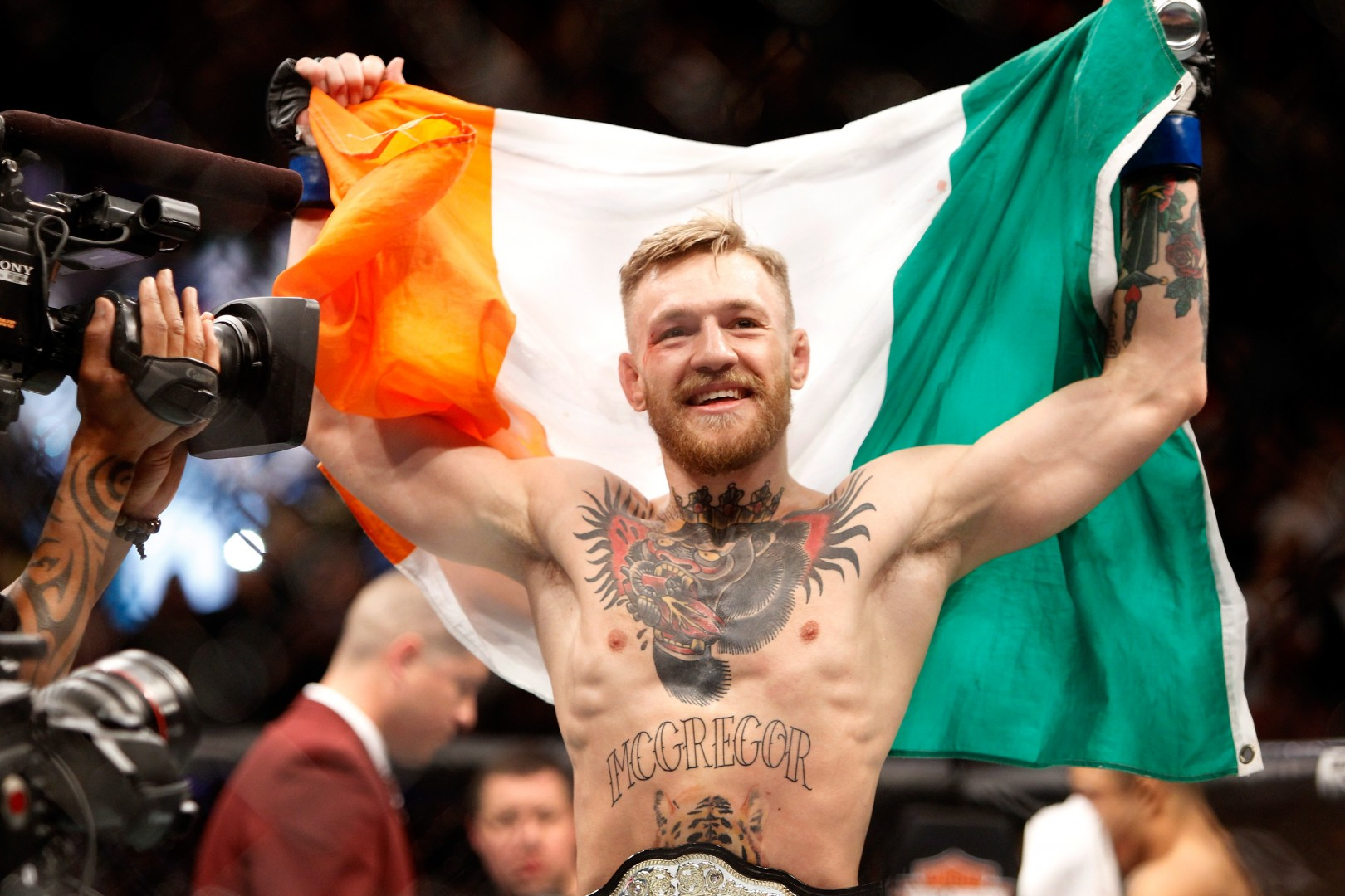 Conor McGregor celebrates victory.