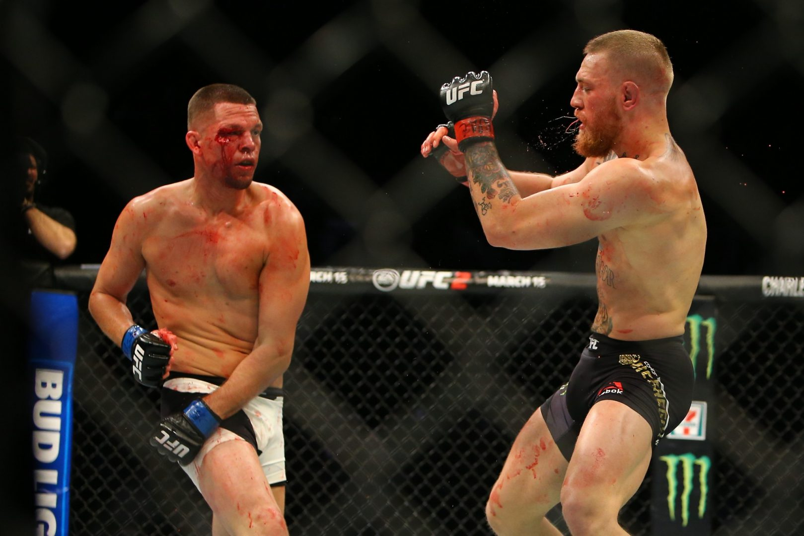 Conor McGregor during his UFC196 defeat by Nate Diaz