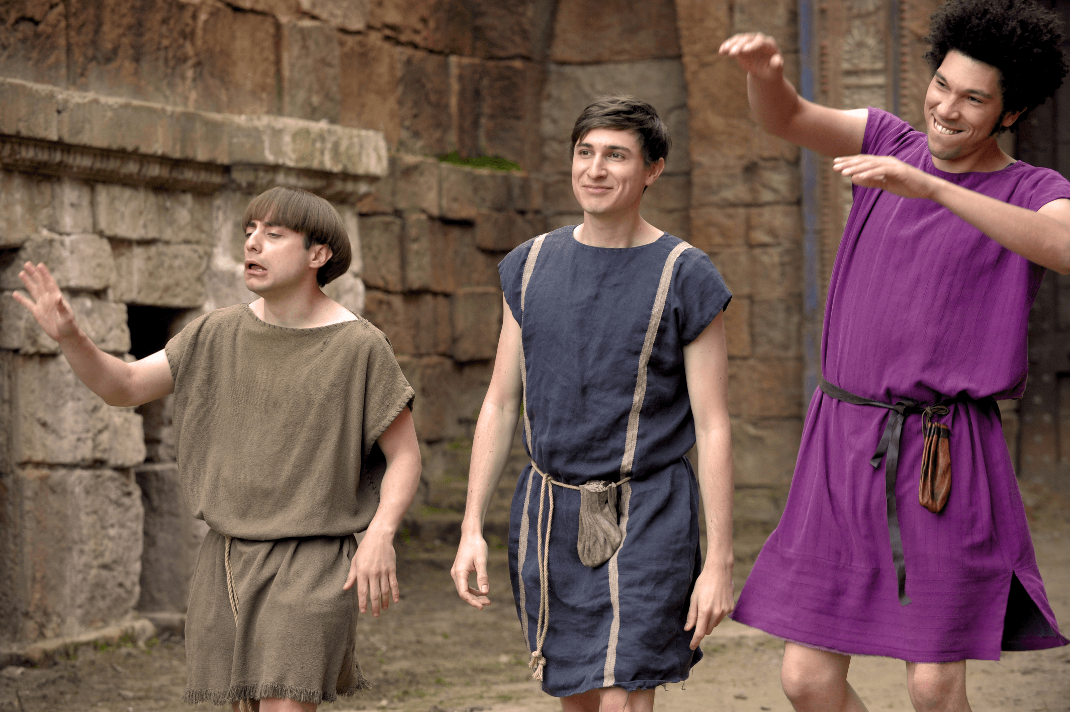 Tom Rosenthal with Plebs co-stars Joel Fry and Ryan Sampson