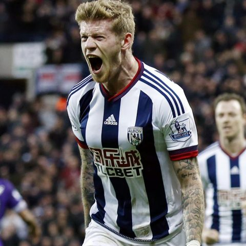 James McClean with West Brom celebrating