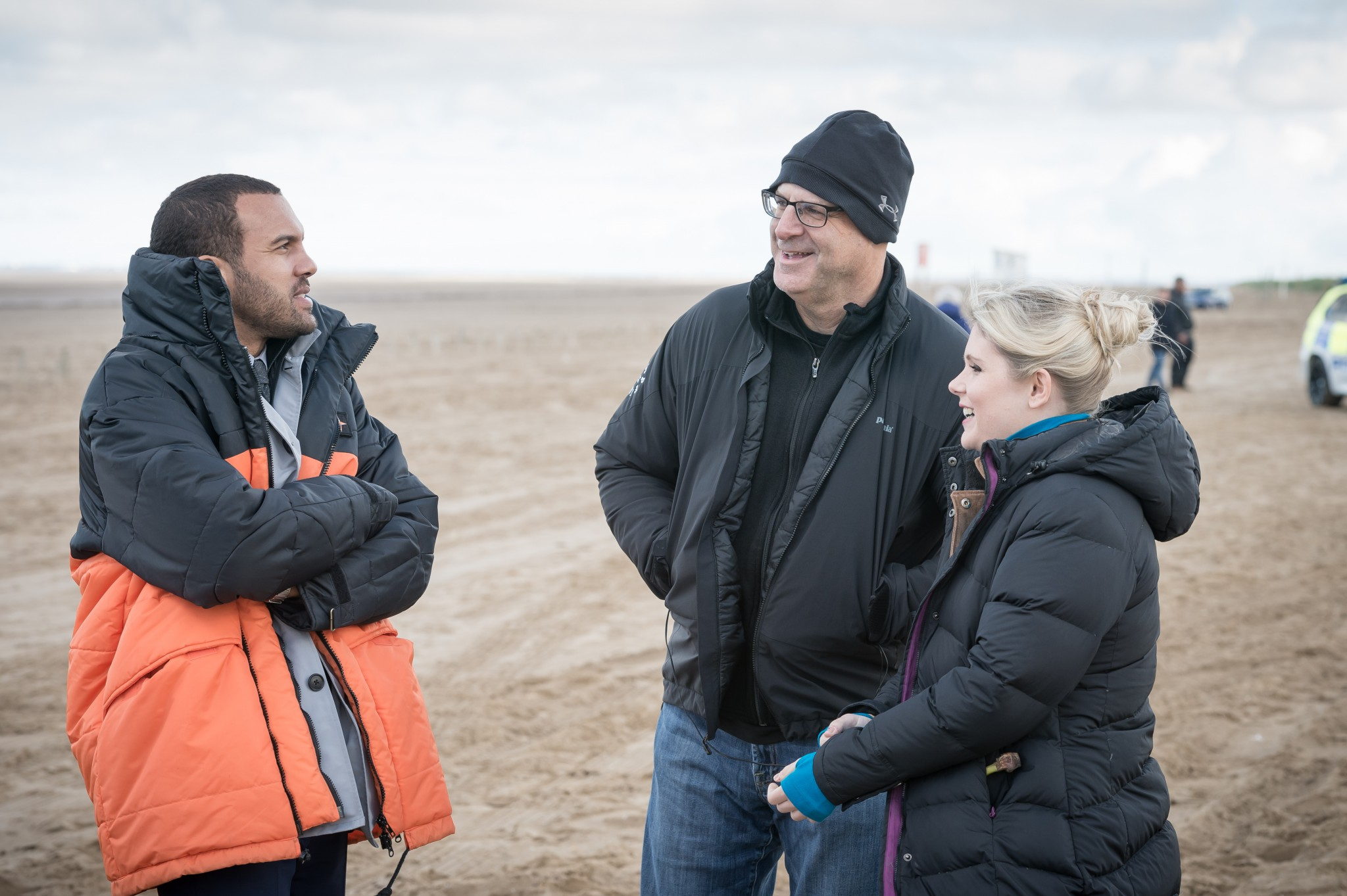 OT Fagbenle and Harlan Coben on the set of The Five
