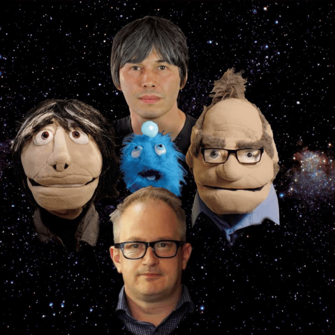 Brian Cox and Robin Ince with their Quest For Wonder co-stars