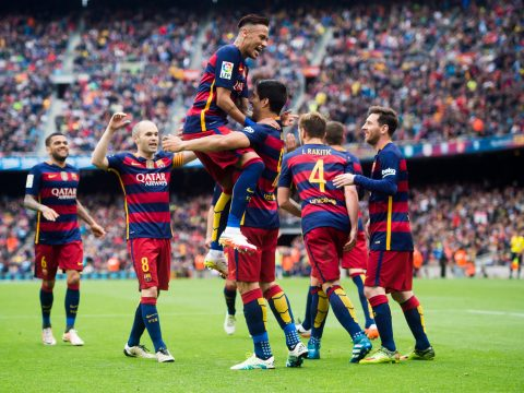 Barcelona celebrating against Espanyol.
