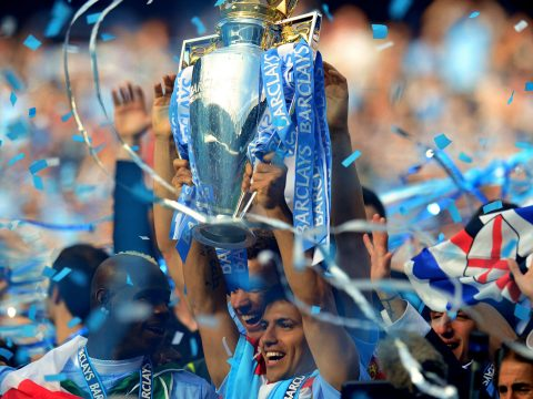 Sergio Aguero with the Premier League trophy