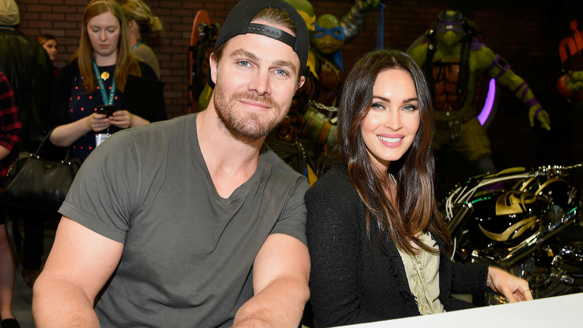 Stephen Amell and Megan Fox