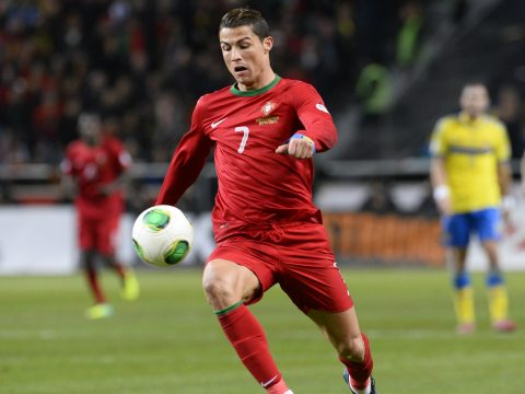 Cristiano Ronaldo in action for Portugal