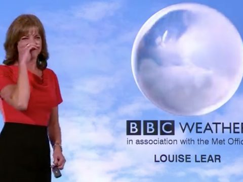 BBC News weather reporter Louise Lear gets fit of the giggles