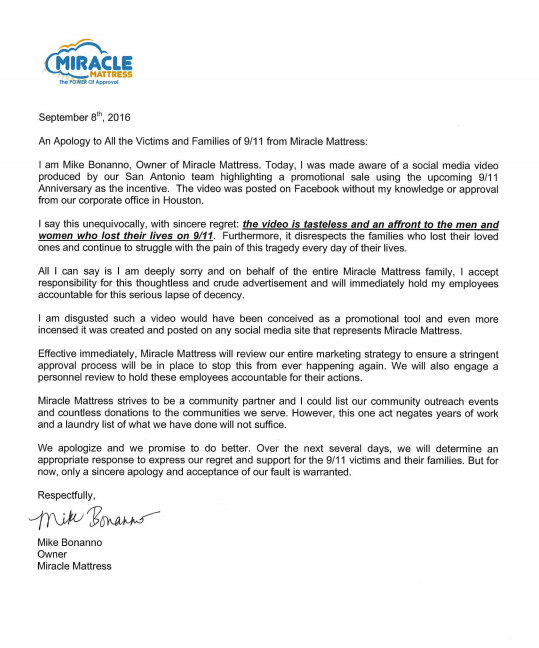 Miracle Mattress' Facebook apology letter.