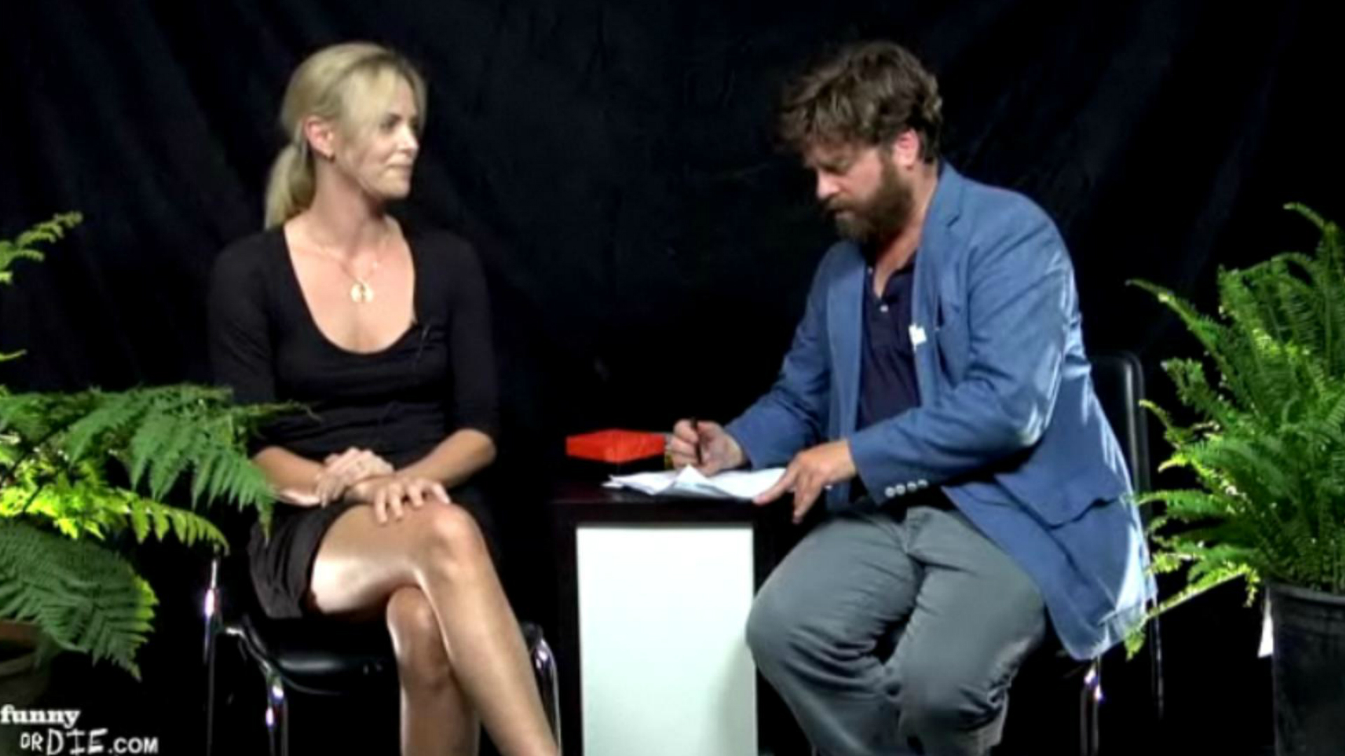 Charlize Theron and Zach Galifianakis in Between Two Ferns