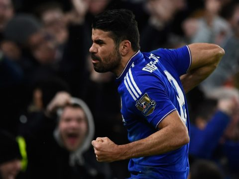 Diego Costa celebrates a goal for Chelsea.