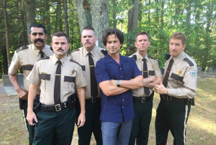 The Super Troopers 2 cast alongside Rob Lowe.