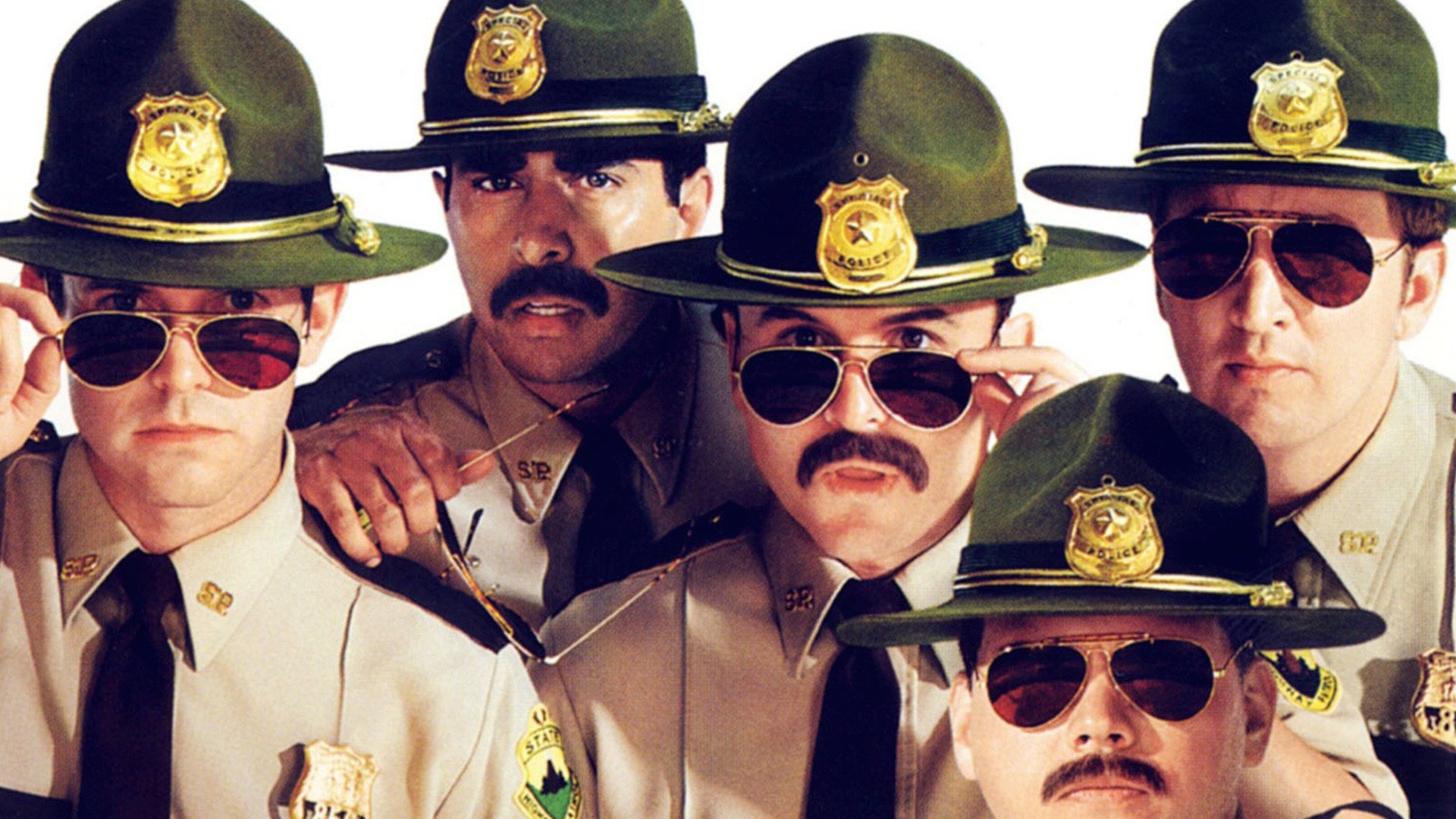 The Broken Lizard gang as Super Troopers