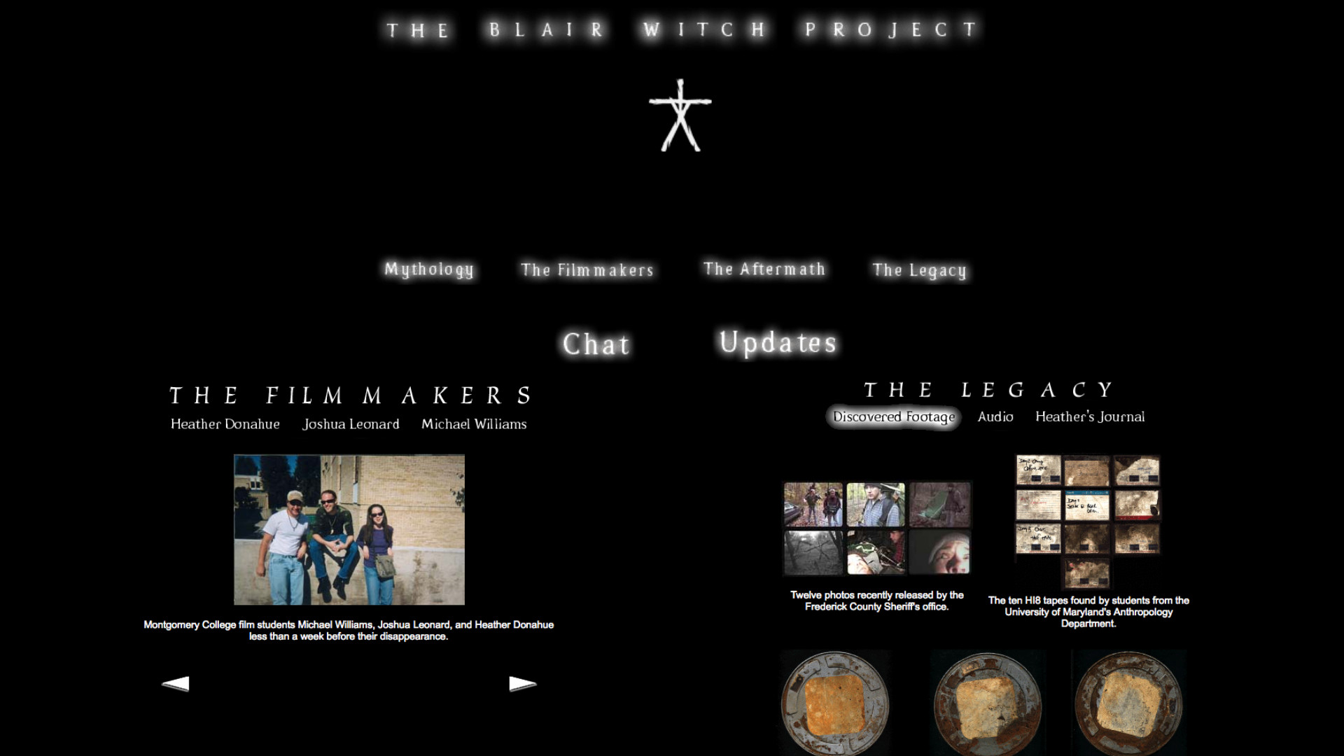 Blair Witch Project's original website from 1999