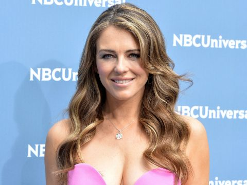 Elizabeth Hurley posing on the red carpet.