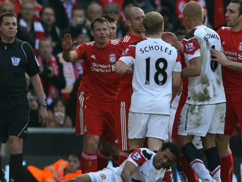 Jamie Carragher playing for Liverpool.