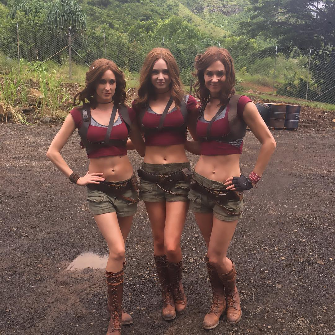 Karen Gillan on the set of Jumanji 2.