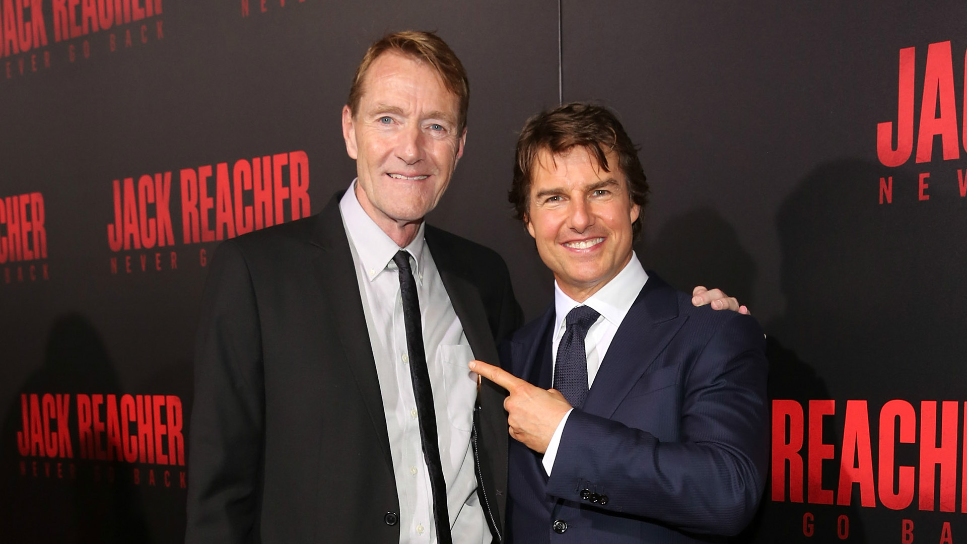 Lee Child and Tom Cruise at the premier of Jack Reacher.