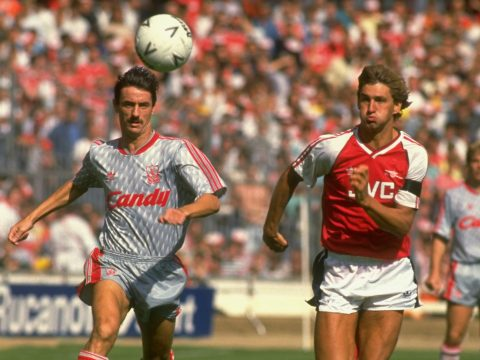 Tony Adams and Ian Rush playing for Arsenal and Liverpool respectively.