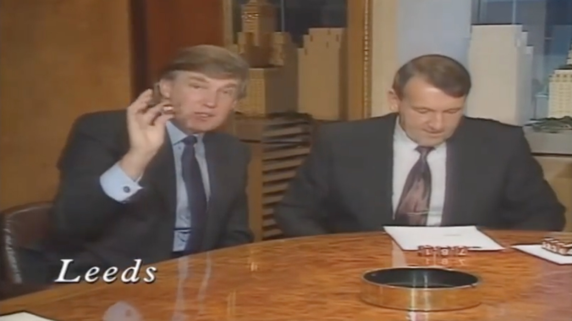 Donald Trump makes the draw for the 1992 League Cup quarter-final