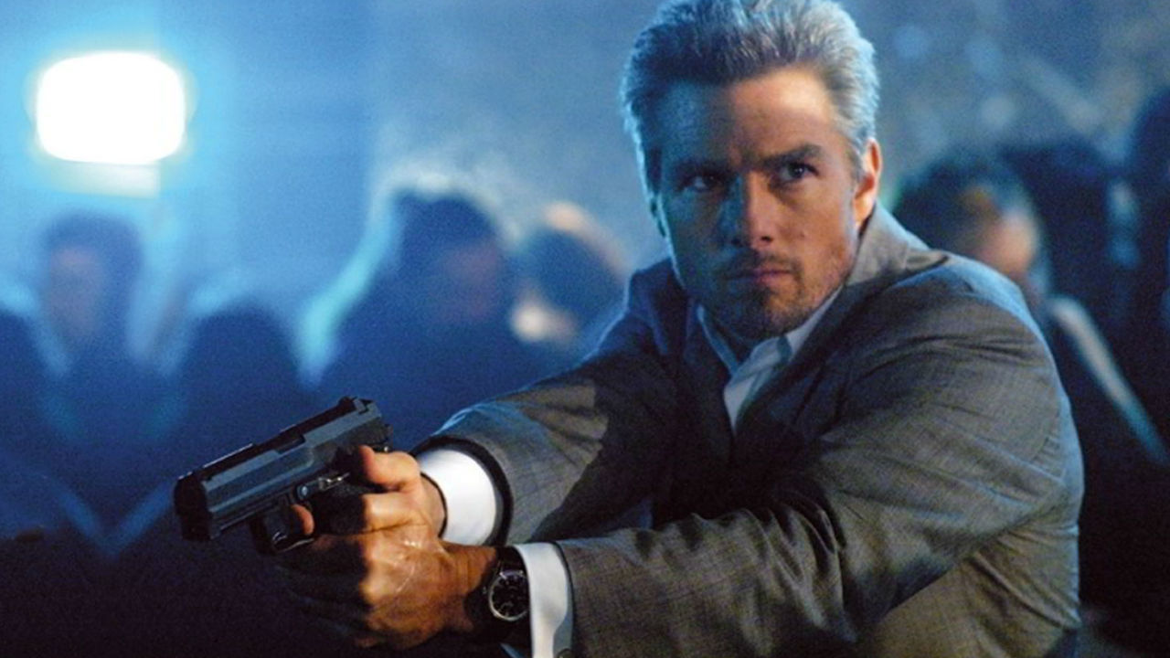 Tom Cruise as a silver-haired assassin in Collateral