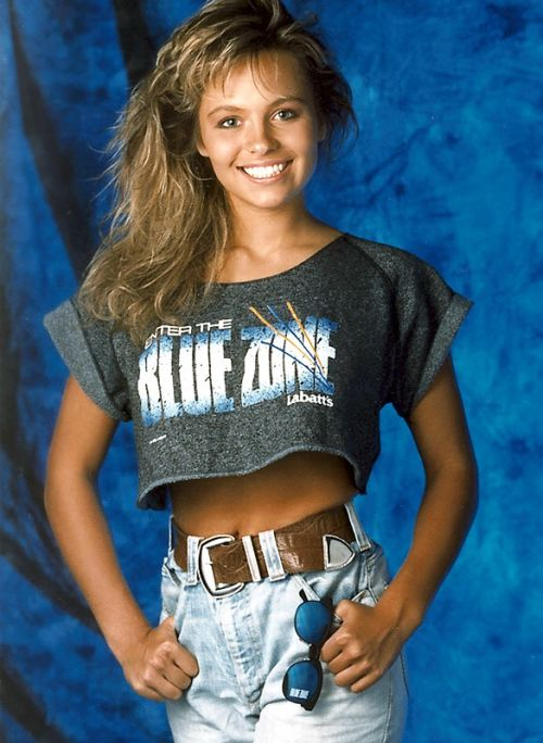 Pamela Anderson as the Blue Zone Girl.