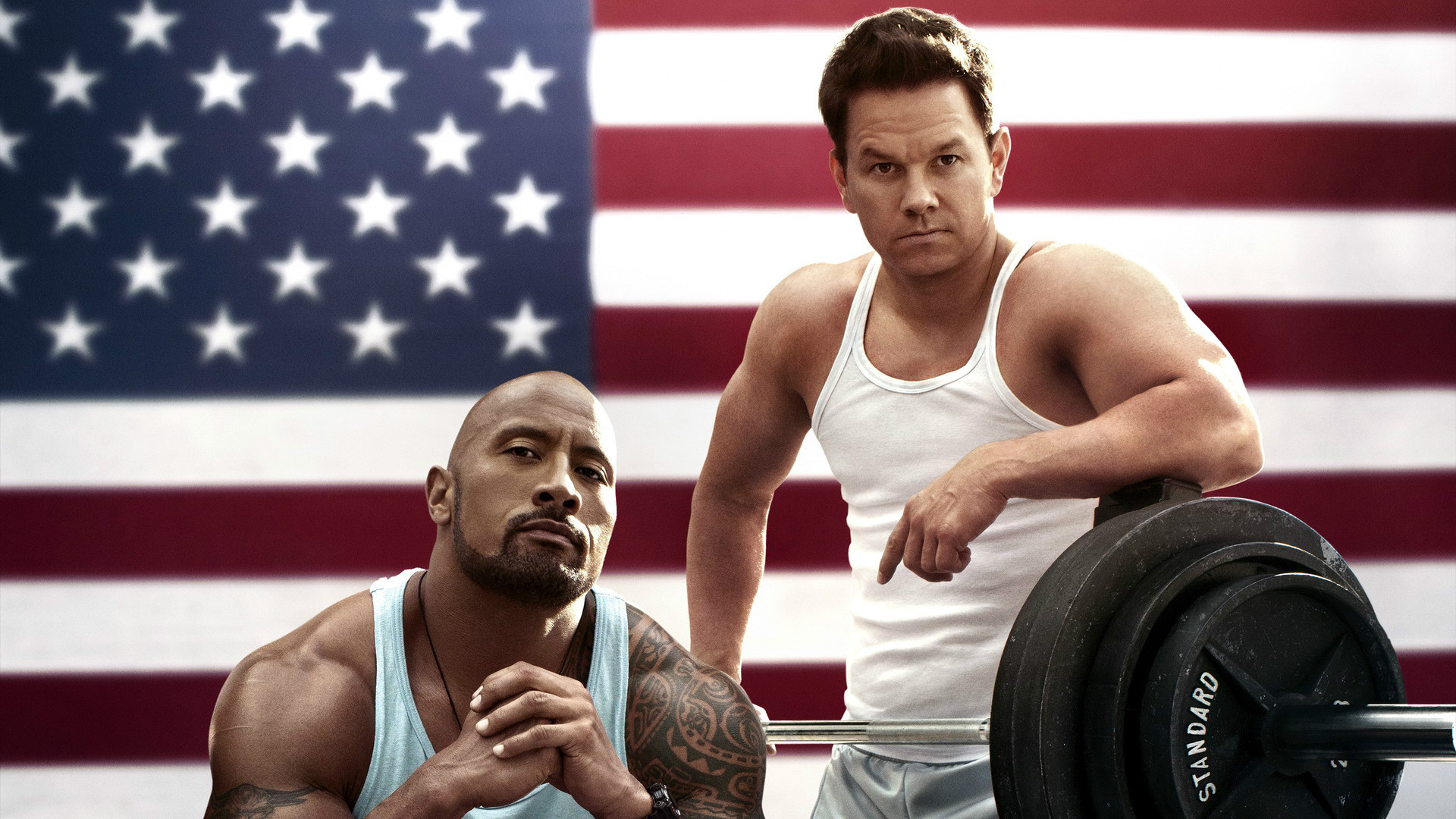 The Rock and Mark Wahlberg in Pain & Gain.