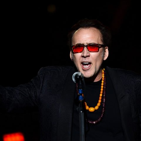"""LAS VEGAS, NV - MAY 21: Actor Nicolas Cage introduces Guns N' Roses at The Joint inside the Hard Rock Hotel & Casino during the opening night of the band's second residency, """"Guns N' Roses - An Evening of Destruction. No Trickery!"""" on May 21, 2014 in Las Vegas, Nevada. (Photo by Ethan Miller/Getty Images)"""