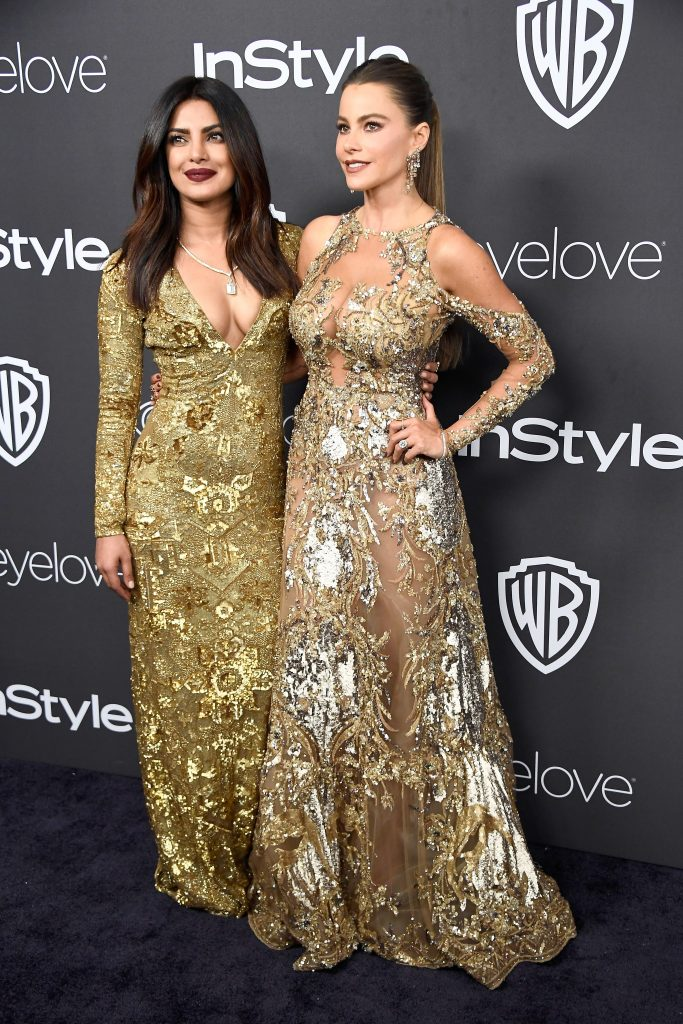 The Indian beauty and the Colombian actress had fun posing together on the red carpet.
