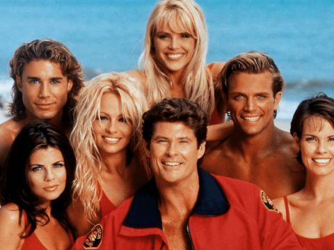 Alexandra Paul and the cast of Baywatch.