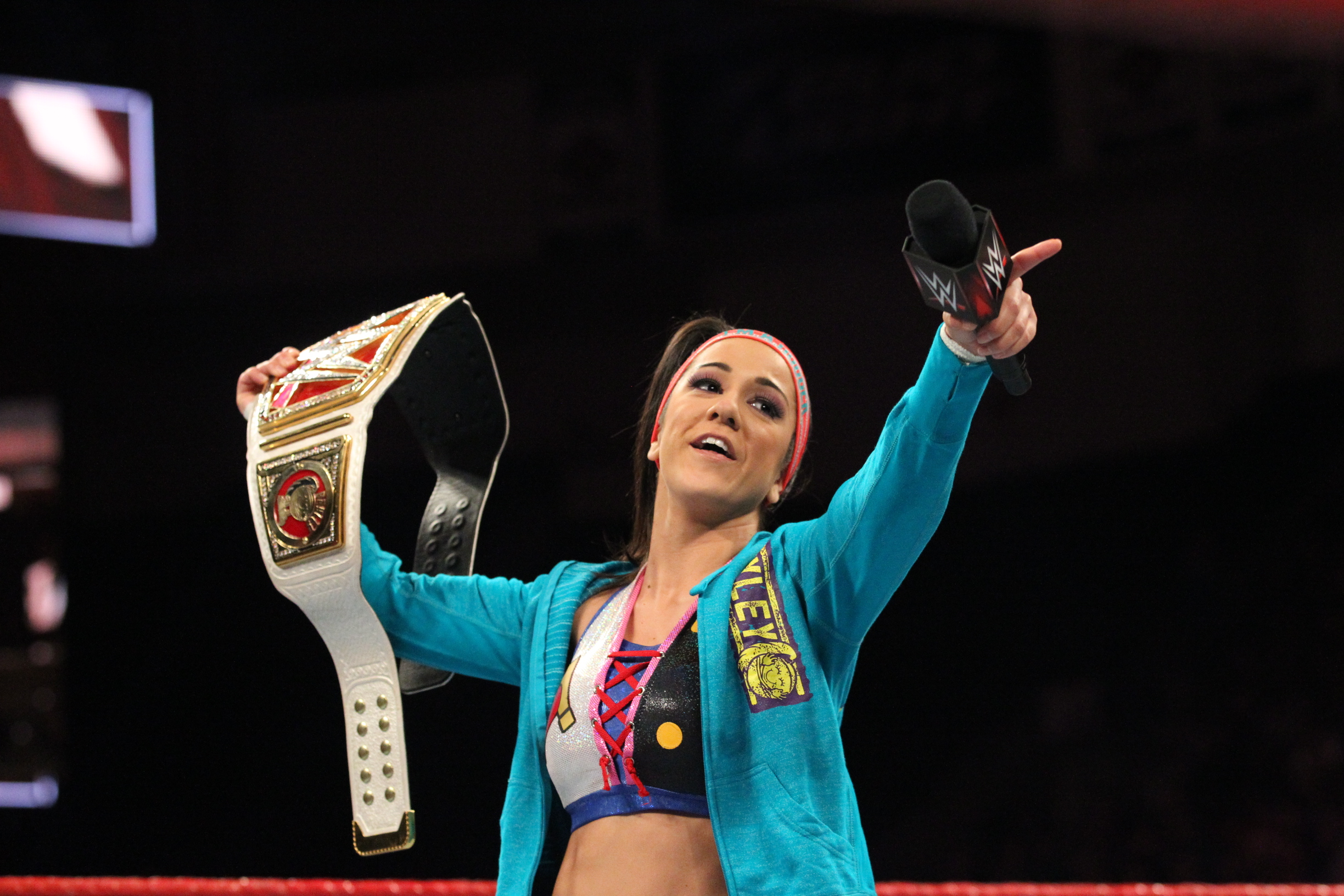 WWE wrestler Bayley in action.