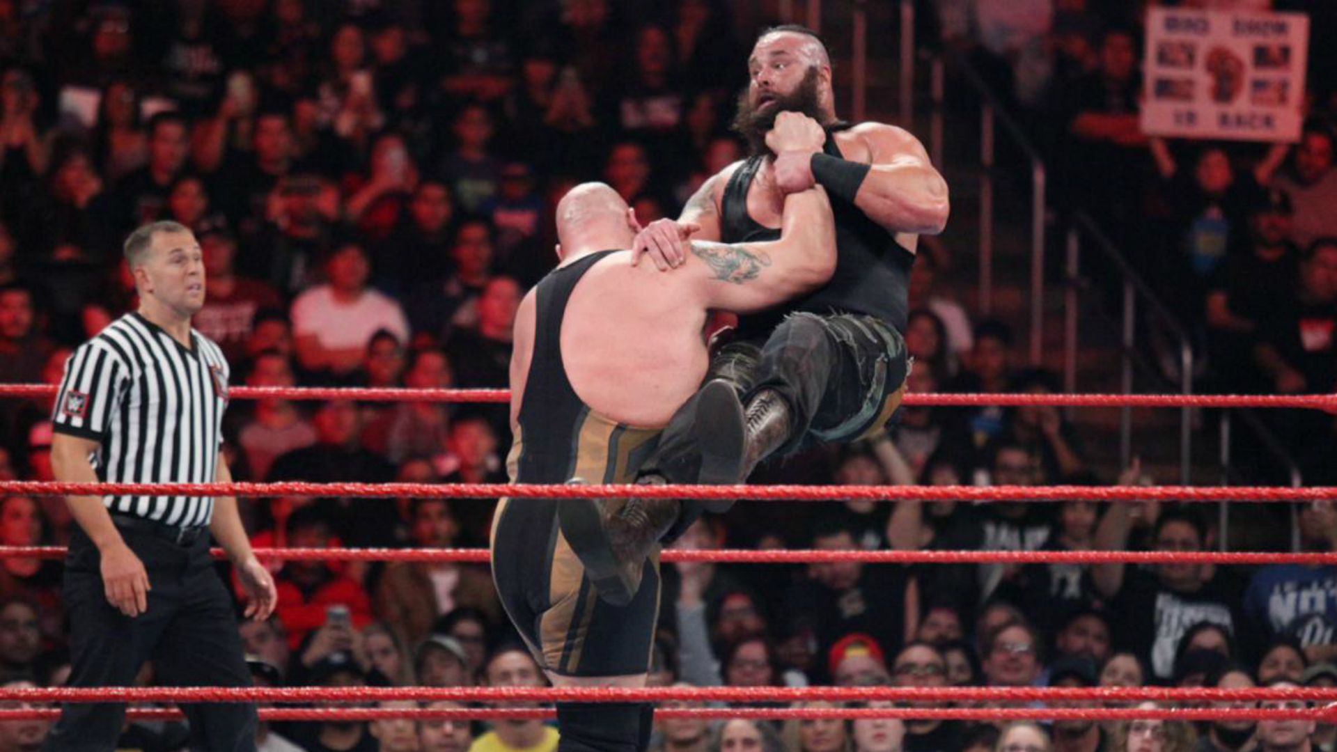 The Big Show slamming Braun Strowman.