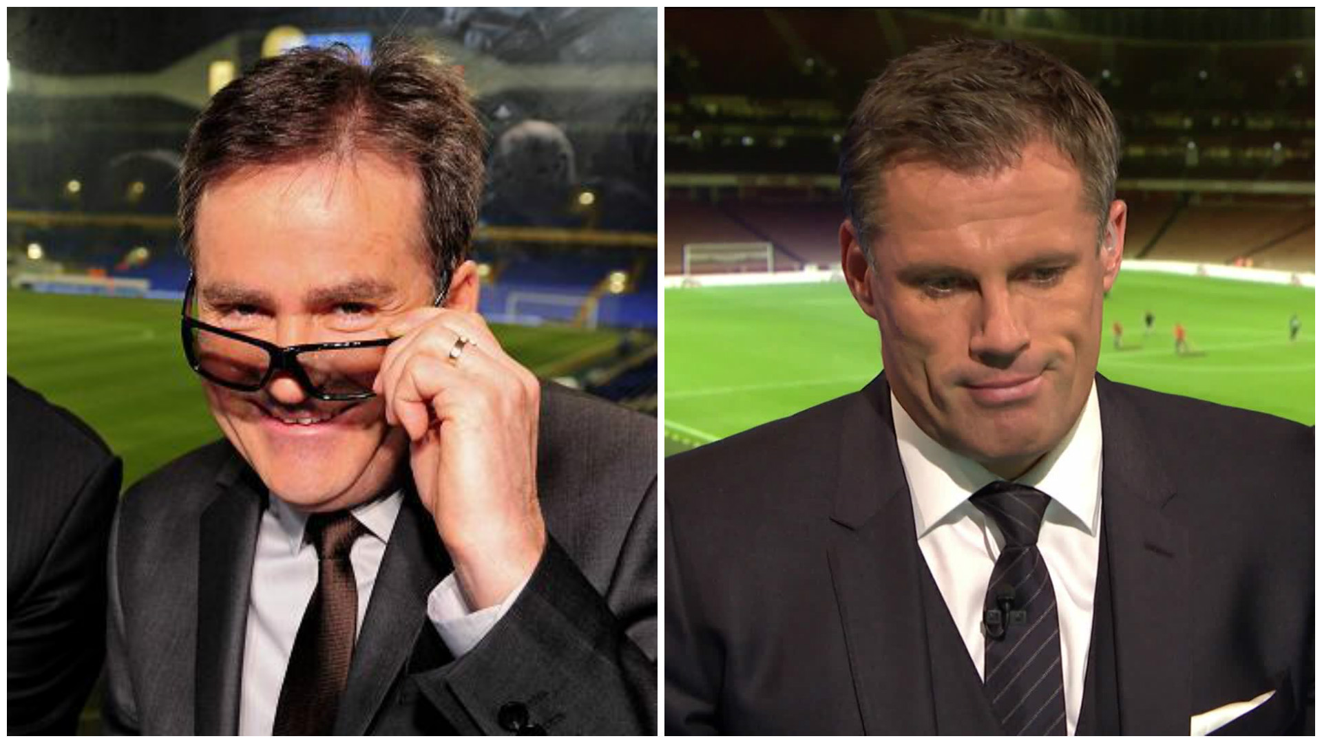 Sky Sports presenters old and new Richard Keys and Jamie Carragher.