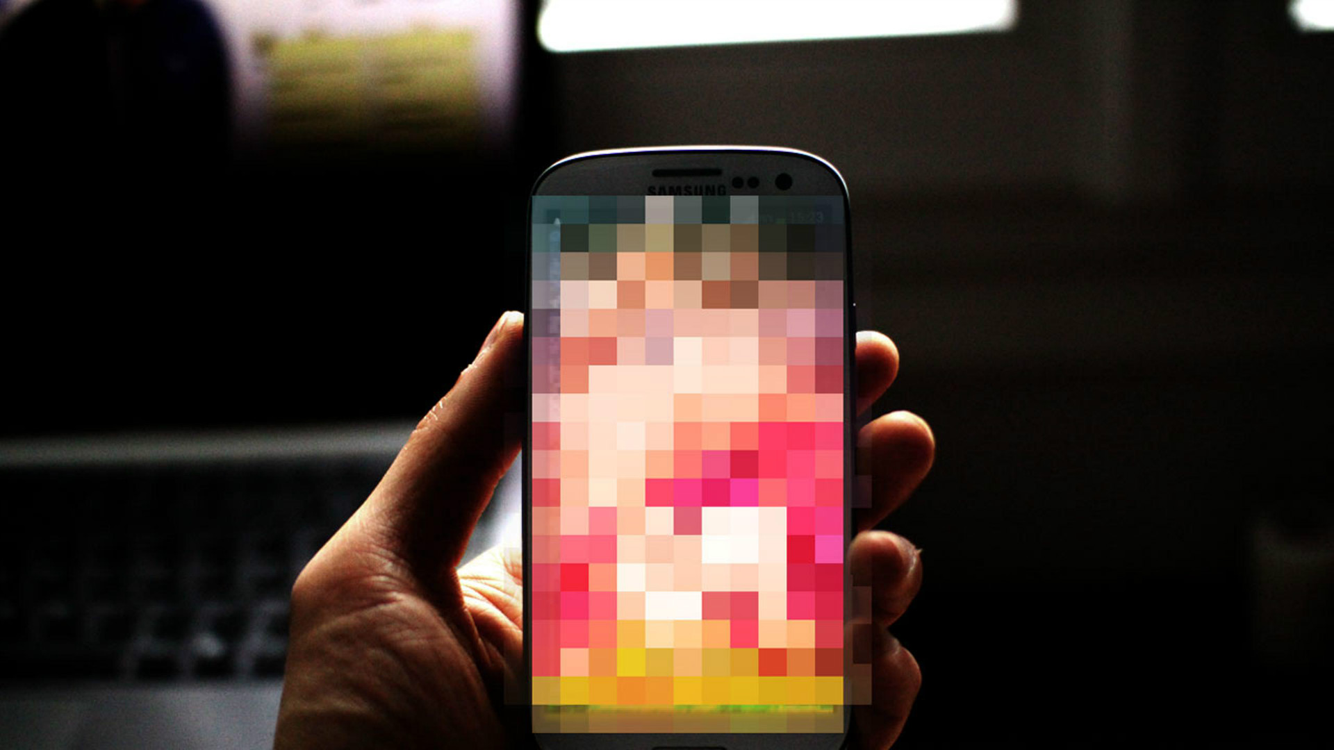 A pixellated smartphone