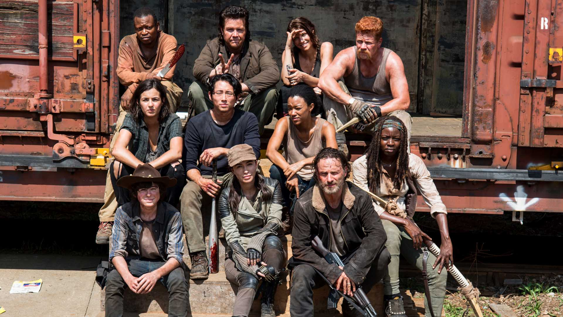 The Walking Dead cast at the start of season 7.