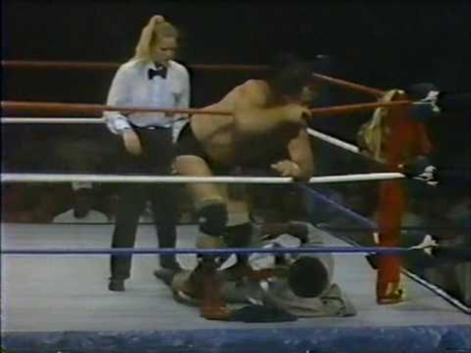 Rita Chatterton refereeing for WWE in the 1980s.